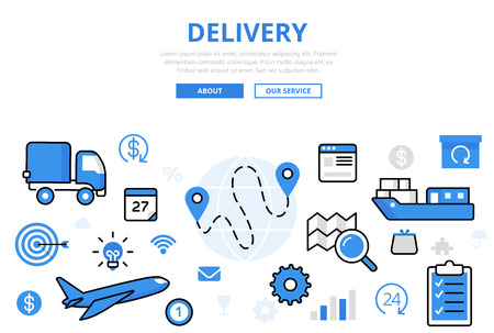 sea transport: Linear flat Delivery, transportation infographics template and icons website hero image vector illustration. Global shipping concept. Vehicles, sea and air transport.