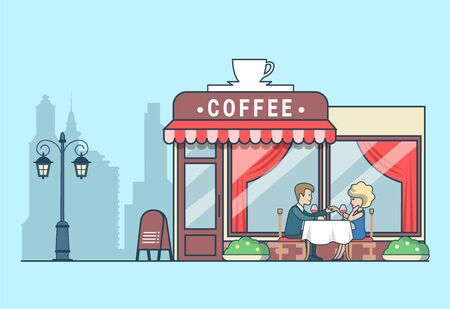 couple date: Linear Flat Man propose to his lady on cafeteria terrace, anniversary celebration, building exterior on cityscape vector illustration. Happy family life, romantic date concept. Illustration