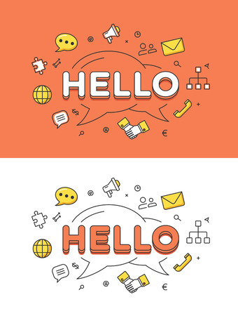 global communication: Linear Flat HELLO word over chat bubbles and icons website hero image vector illustration set. Global social network and communication concept.