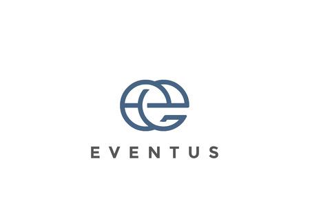 手紙 E ロゴ モノグラム デザイン ベクトル テンプレート直線的なスタイルです。  ビジネス高級ファッション ロゴタイプ コンセプト シンボル