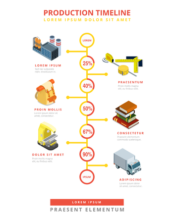 instrumentation: Flat isometric Timeline infographics template, scale with products ratio in percent numbers vector illustration. 3d isometry Business Production concept.