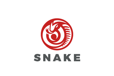 tongues: Snake Logo circle shape design vector template.  Mascot Viper Logotype poison concept icon. Illustration
