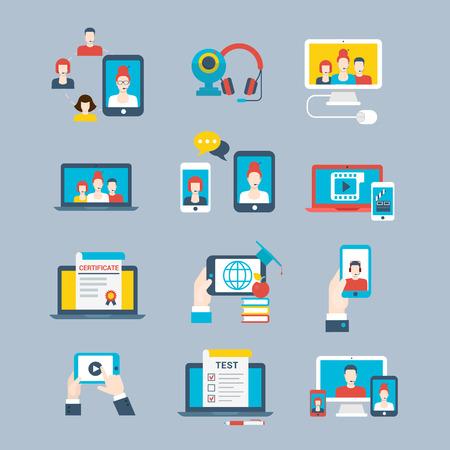 Flat smartphone, laptop, communication devises vector illustration set. Technology, Social network concept.