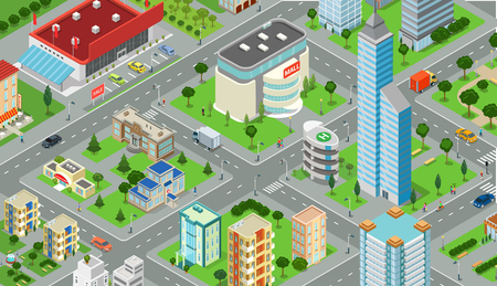 megalopolis: Flat isometric megalopolis blocks infographics with roads and crossroads illustration