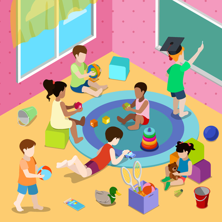 playschool: Flat isometric Children playing in playschool or day care center interior illustration