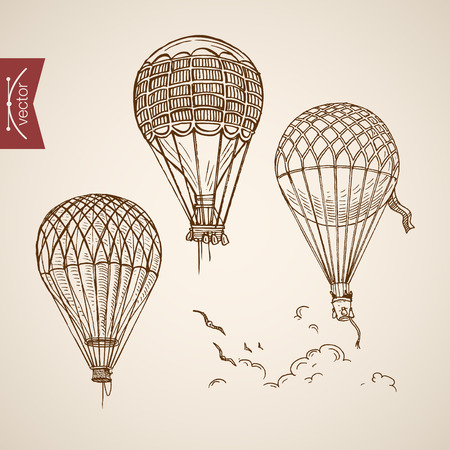 Engraving vintage hand drawn balloons flying in clouds doodle collage