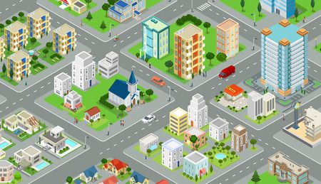 Flat isometric megalopolis blocks infographics with roads and crossroads illustration