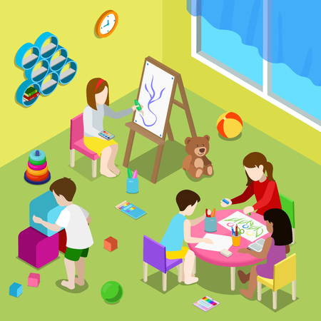day care: Flat isometric Teacher and children drawing and playing in playschool or day care center illustration