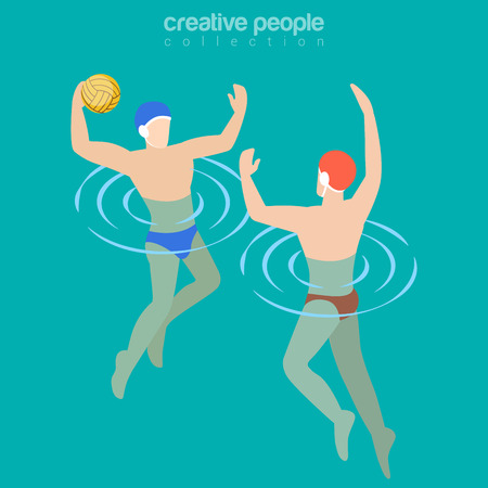 waterpolo: Flat isometric Male water-polo players illustration Illustration