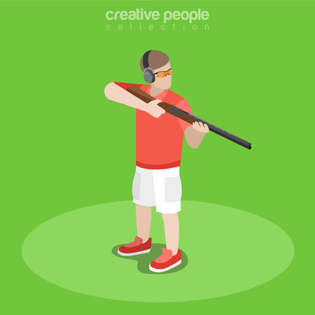 shooter: Flat isometric shooter with weapon taking aim illustration.