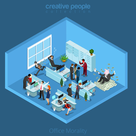 aggression: Flat isometric office interior full negative characters illustration. Illustration