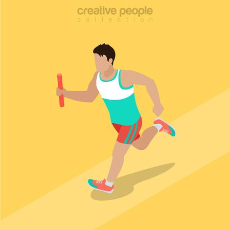carrera de relevos: Atleta isométrica plana corriendo con la ilustración del bastón Vectores