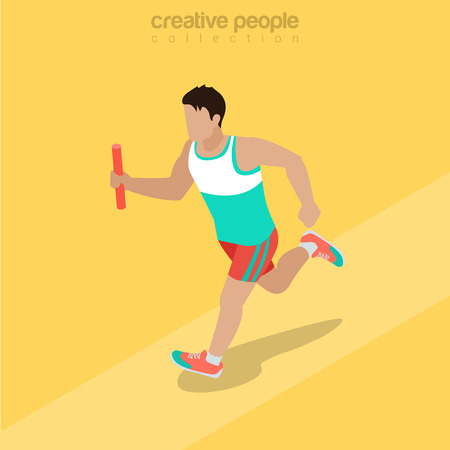 relay: Flat isometric Athlete running with baton illustration