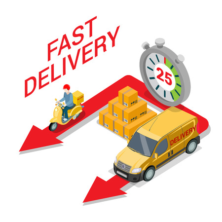 Flat isometric speed competition of courier on scooter and service car on red arrows, huge stopwatch and cargo pyramid illustration