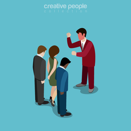 Flat isometric Angry manager with red face yelling on businesspeople illustration