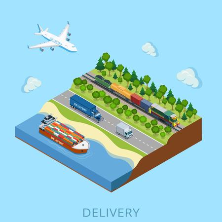 Flat train isométrique avec une cargaison, camions, Barge, Avion illustration. Vecteurs