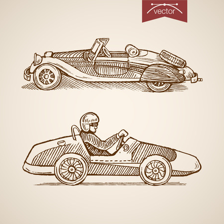 Engraving vintage hand drawn sportcar with driver doodle collage Illustration