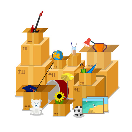moving: Flat isometric cardboard boxes full of stuff illustration.
