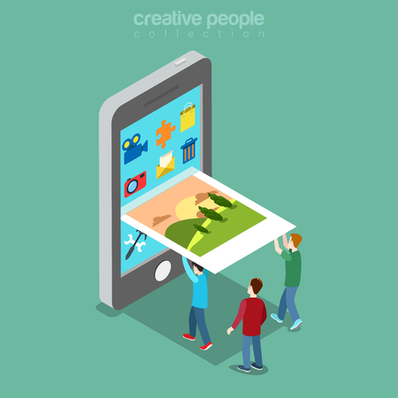 micro: Flat isometric micro people filling picture into smartphone screen illustration. Illustration
