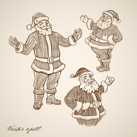 oldie: Engraving vintage hand drawn winking Santa Claus doodle collage.