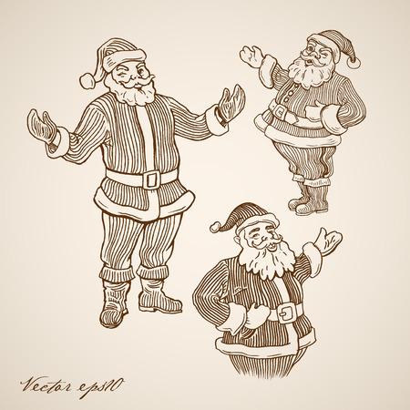 Engraving vintage hand drawn winking Santa Claus doodle collage.