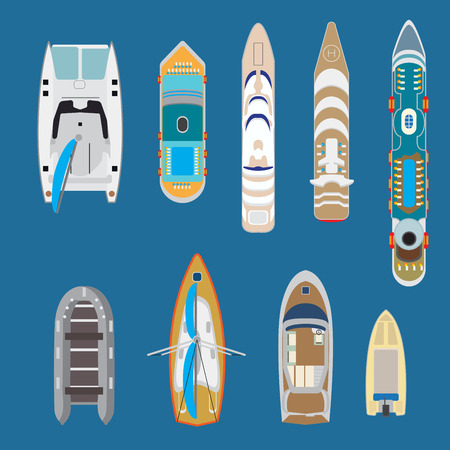 Flat Top view yachts and boats on blue water background