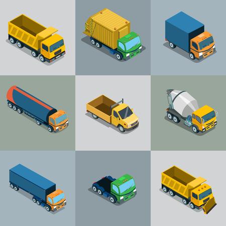Isometric flat vehicle cargo transport illustration set