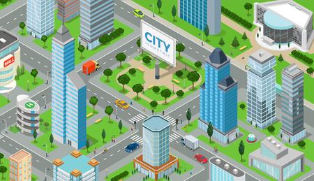Flat isometric megalopolis blocks infographics with roads and crossroads illustration. Illustration