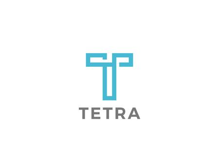 T icône modèle de conception de style linéaire Lettre
