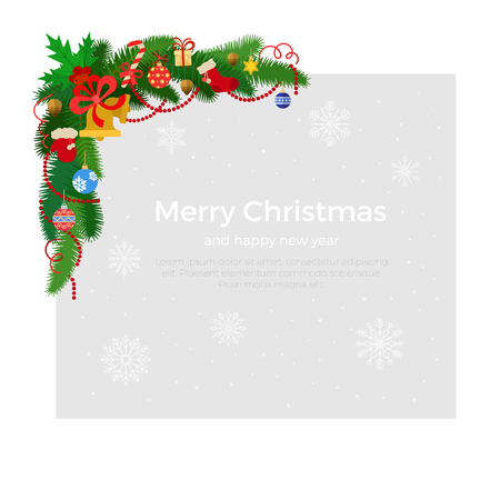 firtree: Corner Fir-tree branches with garland