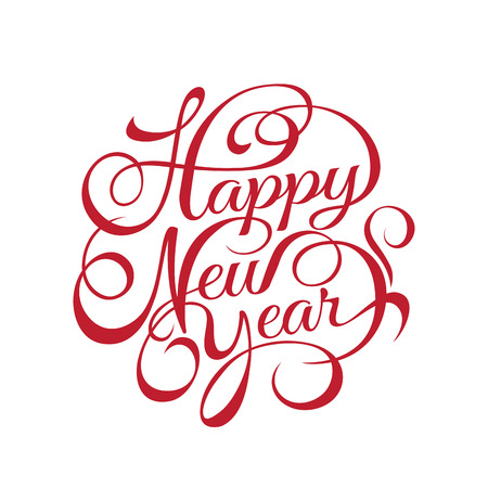 text year: Happy New Year text Calligraphic Lettering design card template