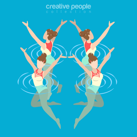 synchronized: Flat isometric synchronized female swimming illustration.