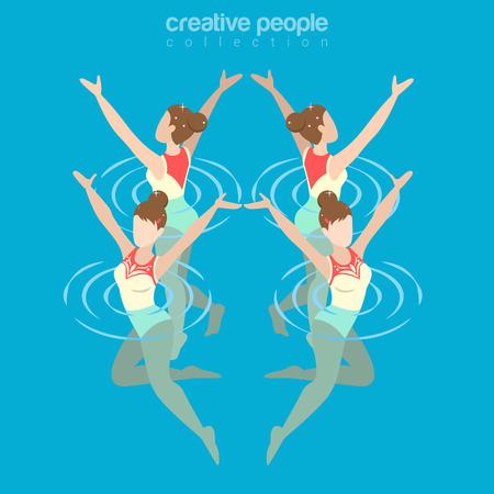 Flat isometrische gesynchroniseerde vrouwelijke zwemmen illustratie. Stock Illustratie