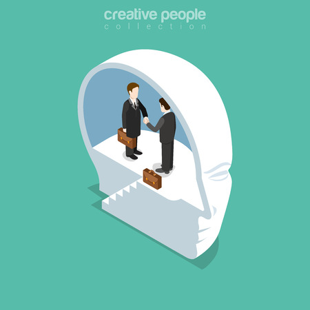 Flat isometric Businesspeople meeting and handshake inside cut human head, brainless illustration.