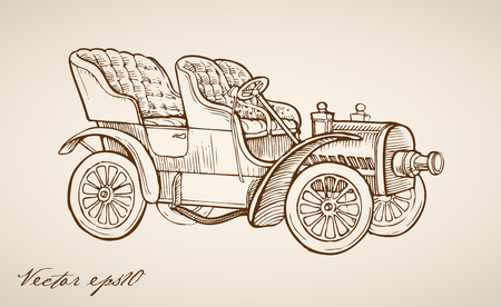 Engraving vintage hand drawn retro automobile doodle collage. Illustration