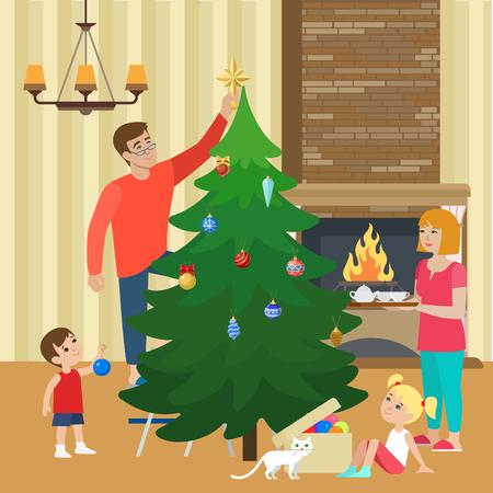 father christmas: Flat happy family decorating Christmas tree, living room interior illustration.