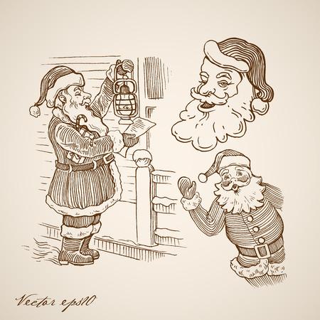 Engraving vintage hand drawn Santa Claus checking present list near house Illustration