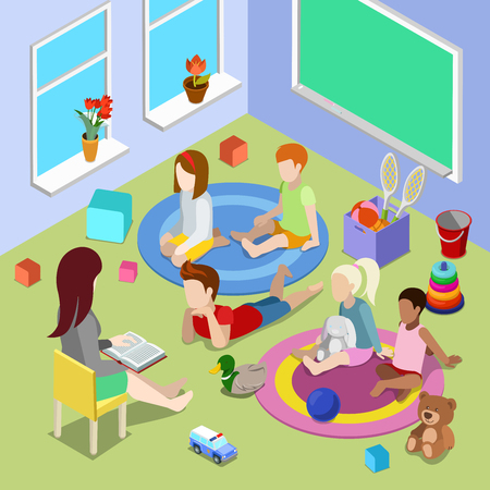 playschool: Flat isometric Teacher reading book for children in playschool