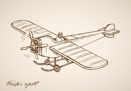 Engraving vintage hand drawn flying Airplane with pilot inside doodle collage.