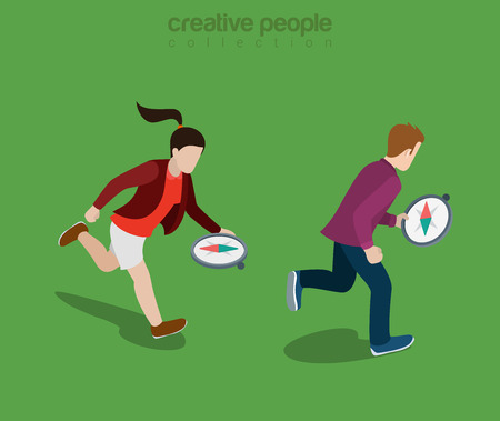 navigating: Flat isometric casual people running and navigating with compass in hands to find right direction illustration.