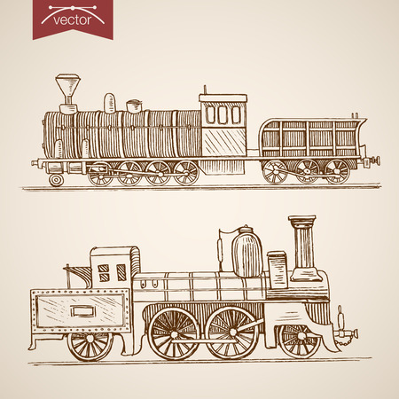 waggon: Engraving vintage hand drawn cargo train with carriage doodle collage.