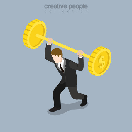 Flat isometric strong businessman trying to rise barbell made of huge coins illustration