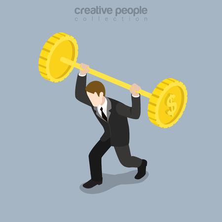 levantar peso: Piso fuerte empresario isométrica tratando de elevarse barra hecha de monedas enorme ilustración