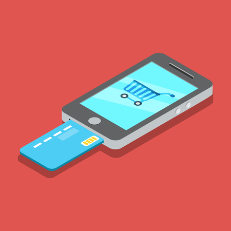 metaphoric: Flat isometric shopping cart on Smartphone screen, payments from credit card using phone illustration. Illustration