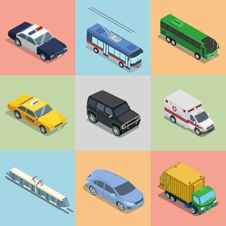 railway transport: Isometric flat vehicle, railway transport illustration set. Illustration