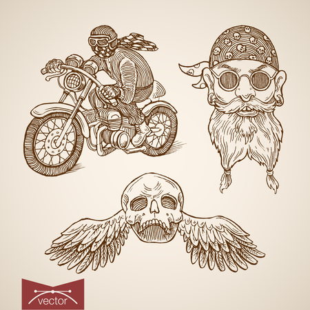 Engraving vintage hand drawn biker driving bike in motorcycle on high speed, male head in helmet glasses, skull with angel wings doodle collage.
