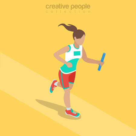 Flache isometrische Sportlerin mit Taktstock Illustration.