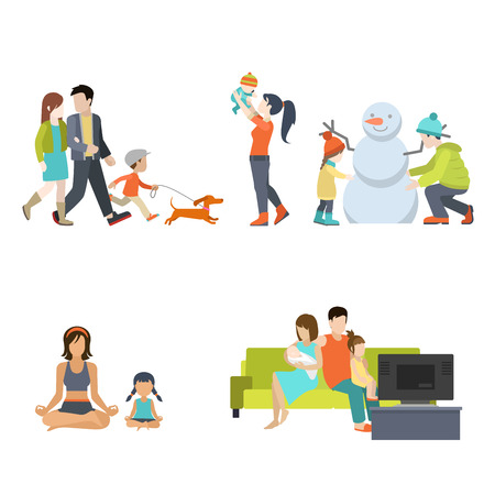 parenting: Flat Family having fun, making snowman and gymnastic exercises, walking with dog, watching TV illustration set. Casual life parenting concept.