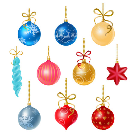 Christmas tree decorations isolated on white background illustration set.