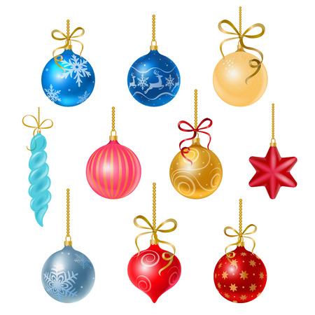 down: Christmas tree decorations isolated on white background illustration set.